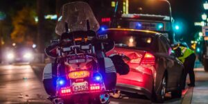 auto accident with motorcycle police, car accident